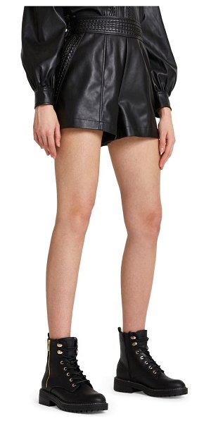 River Island whip stitch faux leather shorts in black