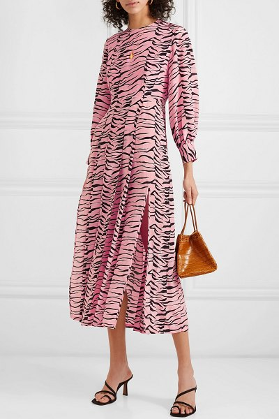 Rixo emma pleated printed silk crepe de chine midi dress in pink