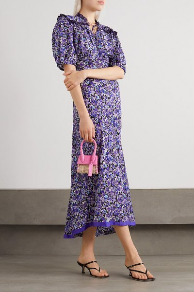 Rixo gwen tie-detailed floral-print cotton and silk-blend midi dress in purple