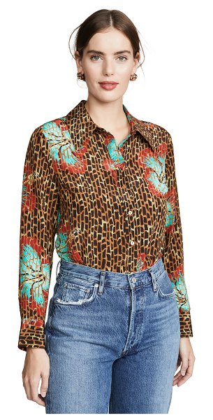 Rixo jamie shirt in hawaii giraffe camel mint