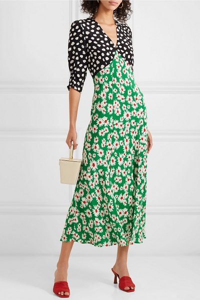 Rixo martha printed silk crepe de chine midi dress in green