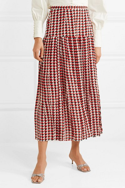 Rixo tina pleated houndstooth silk crepe de chine midi skirt in red