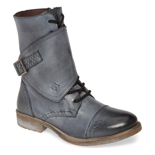 ROAN deception buckle boot in grey/ white leather