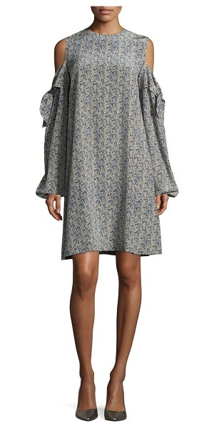 ROBERT RODRIGUEZ Cold-Shoulder Silk Mini Dress - Robert Rodriguez dress in printed silk. Jewel neckline....