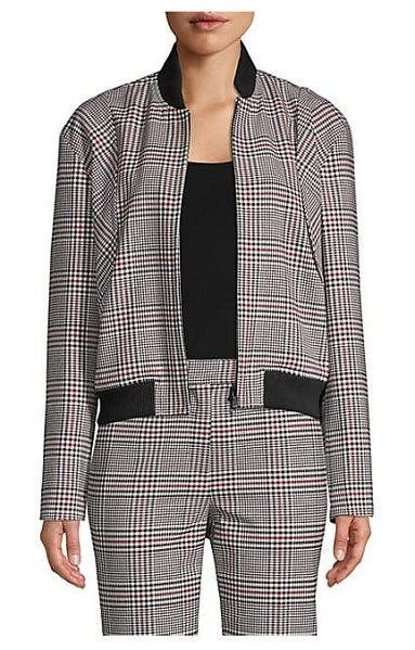 Robert Rodriguez plaid bomber jacket in black red - Versatile bomber jacket with plaid print and contrasting...