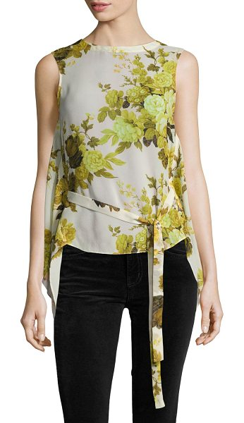 Robert Rodriguez Sleeveless Floral Top W/ Back Drape in yellow - Robert Rodriguez top in floral-printed silk georgette....