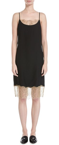 Robert Rodriguez Slip Camisole Dress W/ Lace Detail in black - Robert Rodriguez silk cami dress with contrast lace...