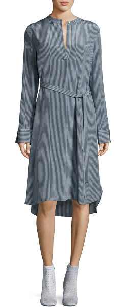 ROBERT RODRIGUEZ Striped Silk Long-Sleeve Shirtdress - Robert Rodriguez dress in striped silk. Mandarin collar;...