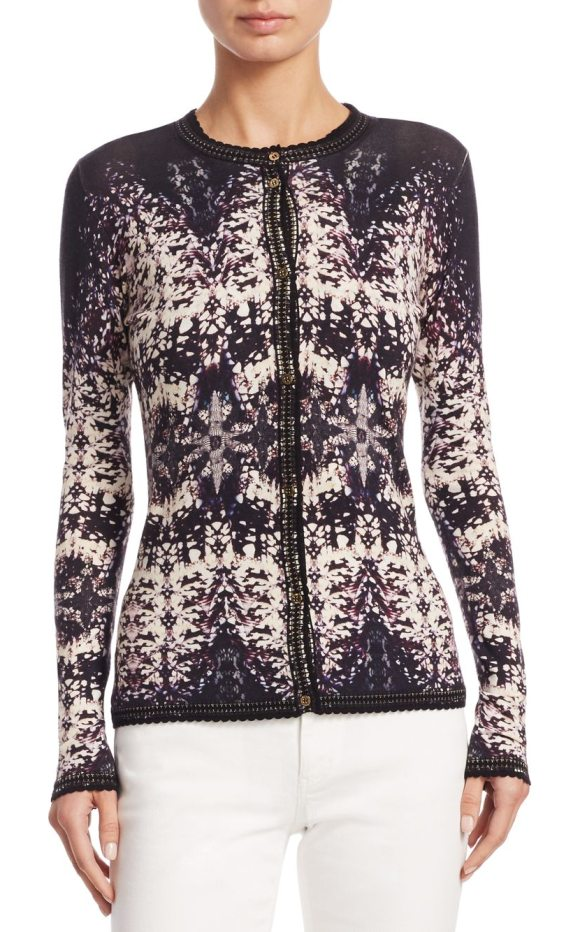 Roberto Cavalli burnout button-front cardigan in black ivory - On-trend wool-blend cardigan in burnout pattern....