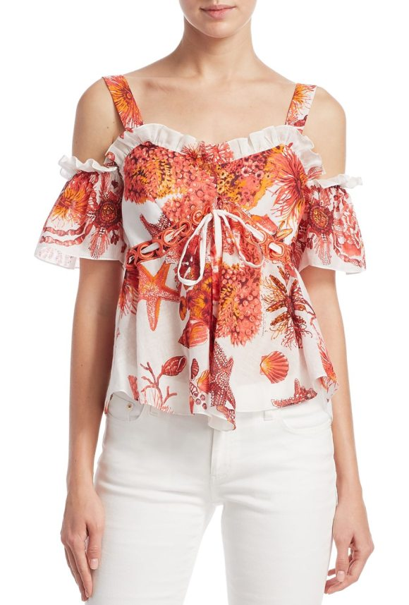 Roberto Cavalli cold-shoulder drawstring blouse in coral - Tropical reef print cotton-blend blouse with ruffle...