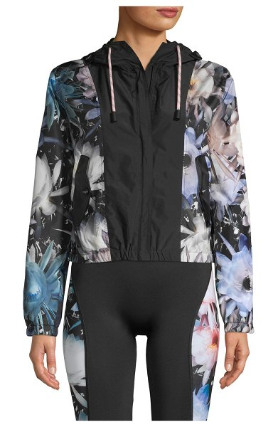 roberto cavalli SPORT Floral Windbreaker Hooded Jacket in multi