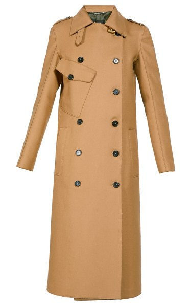 Rochas double breasted wool blend trench coat in beige