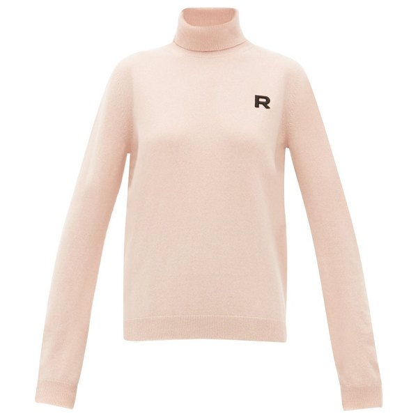 Rochas logo appliqué roll neck cashmere sweater in light pink