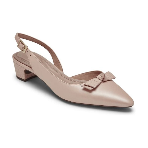 Rockport gracie bow slingback pump in pink beige leather