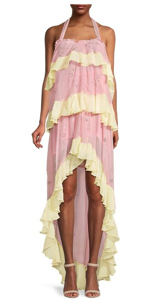 ROCOCO SAND Ruffled High-Low Dress in light pink