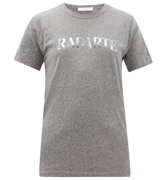Rodarte heather logo print jersey t shirt in grey multi