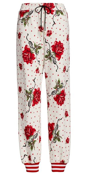 Rodarte rose-print joggers in red