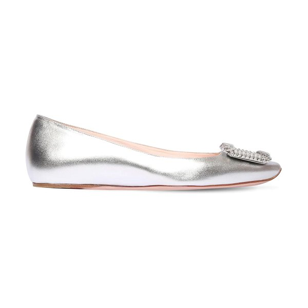 Roger Vivier 10mm trompette leather ballerinas in silver