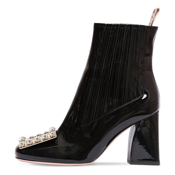 Roger Vivier 85mm tres vivier patent leather boots in black