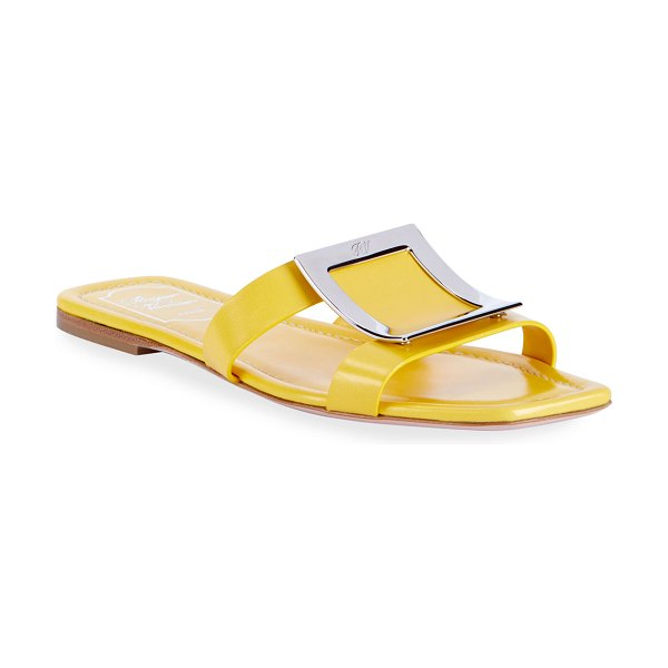 Roger Vivier Biki Viv' Flat Leather Buckle Sandals in yellow