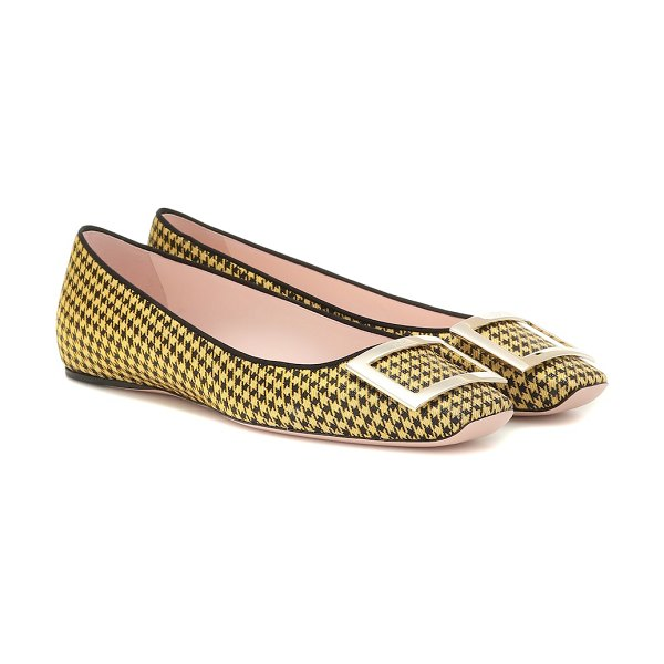 Roger Vivier exclusive to mytheresa – trompette houndstooth ballet flats in yellow