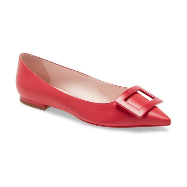 Roger Vivier gommettine buckle pointy toe flat in red