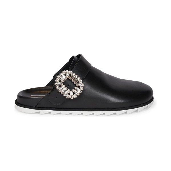 Roger Vivier slidy strass leather mules in black
