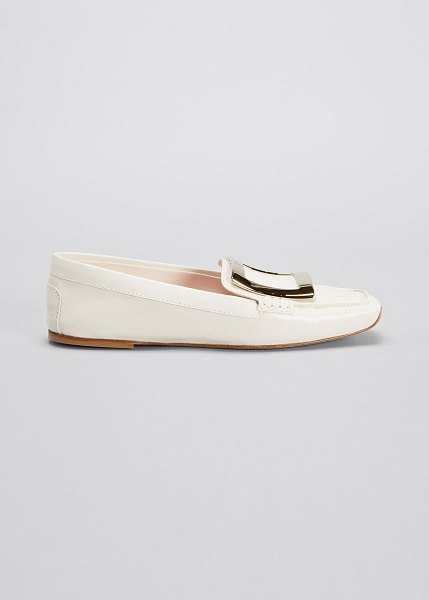 Roger Vivier Viv Leather Buckle Driver Loafers in white
