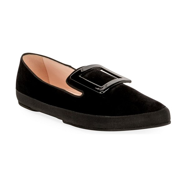 Roger Vivier Viv' Lounge Flat Suede Loafers in black
