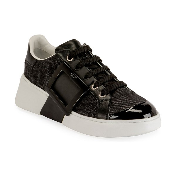 Roger Vivier Viv' Skate Lacquered Buckle Sneakers in black