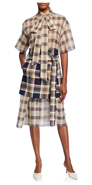 Rokh Checked Chiffon Dress with Apron in multi