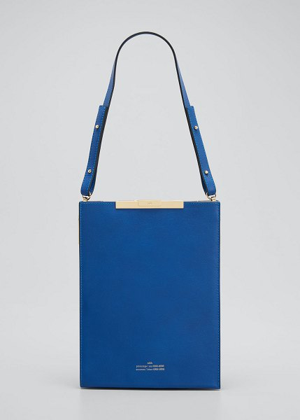 Rokh File B Leather Tote Bag in cobalt