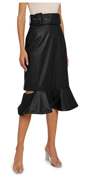 Rokh Leather Frill Drop Skirt in black