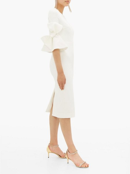 Roksanda lavete bow-embellished crepe midi dress in ivory