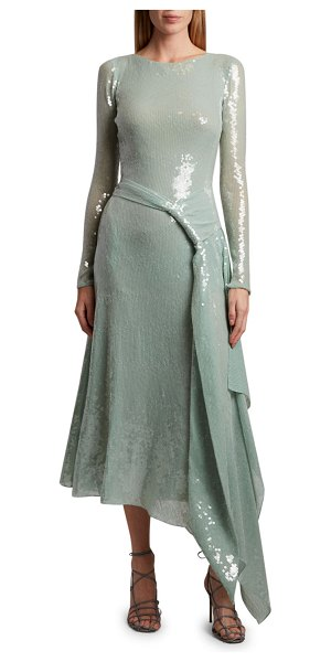 Roland Mouret Angelo Sequined Belted Dress in green