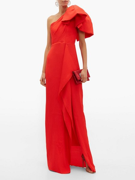 Roland Mouret belhaven silk-seersucker gown in red
