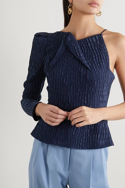 Roland Mouret bryant one-sleeve gathered silk-jacquard top in navy