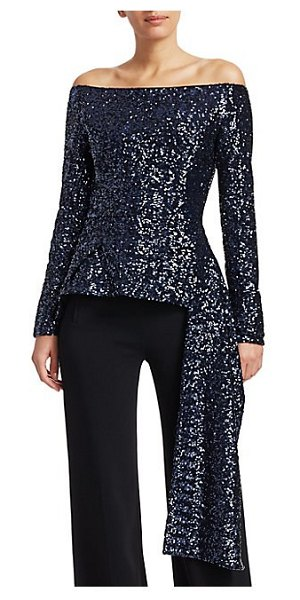 Roland Mouret endfield sequin asymmetric peplum top in navy
