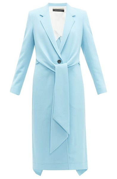 Roland Mouret hollywell tie front wool crepe coat in light blue
