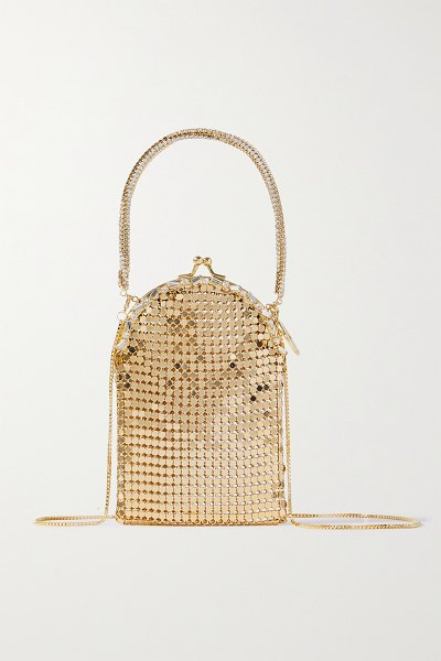 Rosantica bellagio crystal-embellished chainmail tote in gold