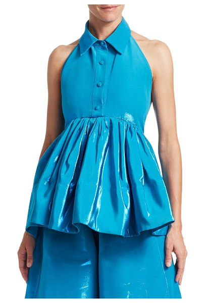 ROSIE ASSOULIN Halterneck Sleeveless Peplum Top in metallic blue
