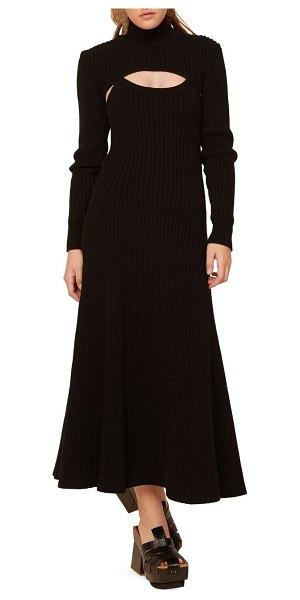 ROSIE ASSOULIN thousand-in-one-ways ribbed wool turtleneck dress in black