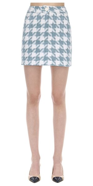 Rowen Rose Exclusive houndstooth tweed mini skirt in light blue