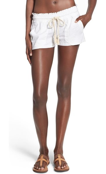 Roxy 'oceanside' linen blend shorts in sea salt