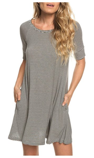 Roxy smitten kitten stripe dress in anthracite cosy stripes - Narrow stripes blanket a swingy jersey dress in a...