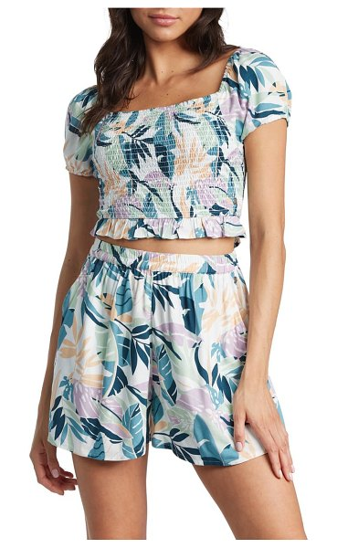 Roxy summer breeze palm print shorts in snow white noumea floral