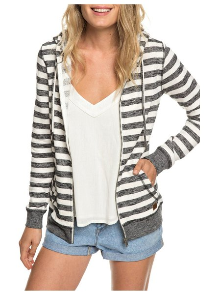 Roxy trippin stripe hoodie in black 2x2 stripe - This striped French-terry hoodie is a cozy and casual...