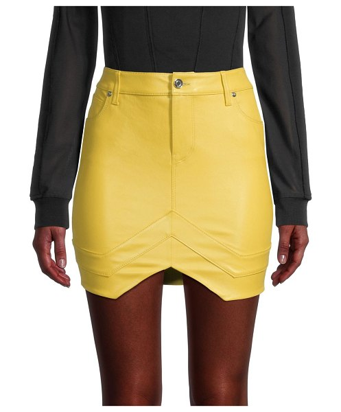 RtA Tempest Leather Mini Tulip Skirt in electric yellow