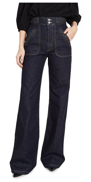 Runway Marc Jacobs flared jeans with braided waist & pocket in indigo