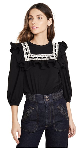 Runway Marc Jacobs jersey t-shirt with lace trim & ruffle in black